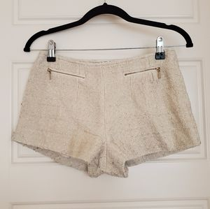 Cream Shorts w/ Gold Shimmer & Zippers